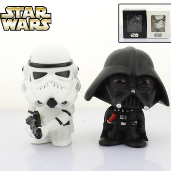 """Free Shipping Cute 4"""" Star Wars Stormtrooper + Darth Vader Bobble Head Shaking Head Toy Model Car Decoration Boxed PVC Figure"""
