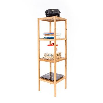 4-layer Portable Practical Bamboo Splint Sundry Storage Rack Wood Color