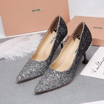 Prada Miu Miu Glitter Pumps With Jewels Black White - Best Deal Online