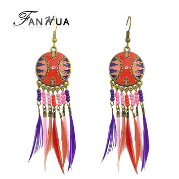 Indian Jewelry Boho Earrings Colorful Enamel Beads Long Feather Tassel Drop Ethnic Earrings New  Brincos