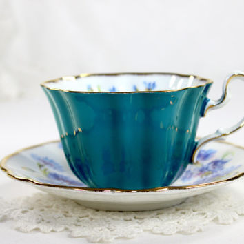 ON SALE Turquoise Royal Adderley Tea Cup, Floral Teacup and Saucer, English Bone China, Blue Cornflower 12545