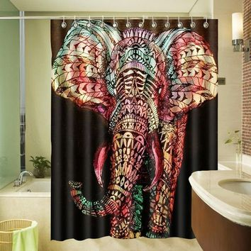 "Elephant Waterproof Washable Bath Curtains Polyester Fabric Printed Bathroom Shower Curtain 72*72"" w/ 12 Hooks"