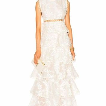 Embroidered Lace Tired Maxi Dress