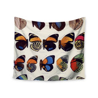 """Suzanne Carter """"Vintage Wings"""" Nature Black Wall Tapestry"""