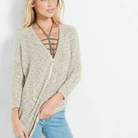 marled front zip tunic sweater