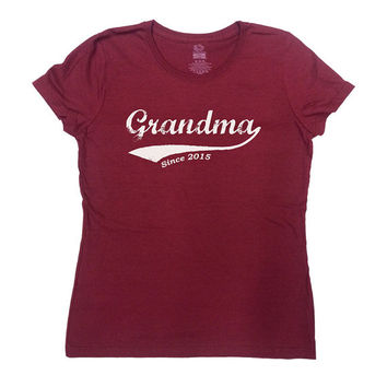 Grandma T Shirt Grandma Since 2015 (Any Year) Grandmother T Shirt Mother's Day Gift New Grandma T-Shirt Funny Mom Pregnancy Ladies Tee -SA30