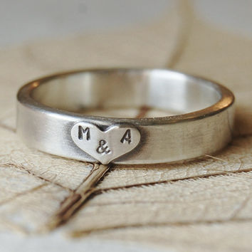 Love - Personalized Sterling Silver Hand Stamped Ring Band  - 5mm - Hand Forged - Recycled Eco Friendly - Custom Size