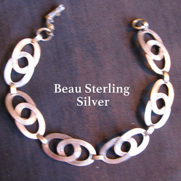 Celtic Jewelry, Bracelet Sterling Silver, Beau Sterling Bracelet, Silver Links Stamped