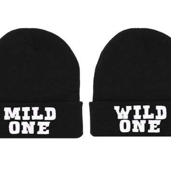 Mild One Wild One Beanie Hat Soul Mate Couple King Queen Hat