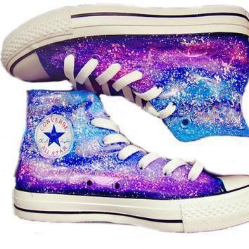 galaxy custom converse converse sneakers hand painted on converse shoes canvas shoe