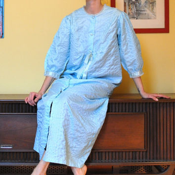 Vintage Robe Baby Blue Full Length Adorable Nightgown 1950s Henson Kickernick