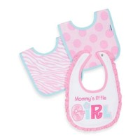 Gerber® 3-Pack Ruffle/Dot/Zebra Terry Bibs in Pink/Blue