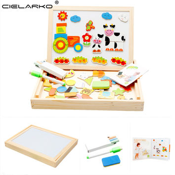 Cielarko Learning Educational Farm Animal Wooden Fridge Magnetic Puzzle Toys for Children Jigsaw Baby Drawing Easel Board LYJ14
