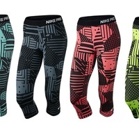 Nike Pro Patchwork Compression Women's Training Capris Crop NWT 689832