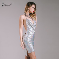 Missord 2016 Sexy sleeveless Deep-V halter split sequin dress  backless metal  Christmas  party dress FT4928