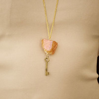 Pink Crystal Quartz Necklace, Rose Gold Crystal Quartz with Brass Key Charm