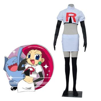 Anime Pocket Monster  Go Cosplay  Team Rocket Jesse Cosplay Costumes Women Cosplay Suit White DressKawaii Pokemon go  AT_89_9