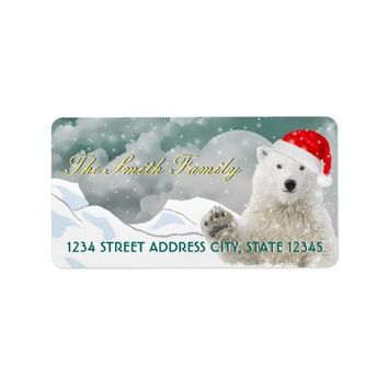 Santa Polar Bear | Custom Return Address Labels