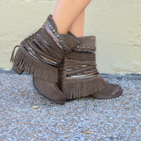Naughty Monkey Sun Riser Genuine Suede Taupe Braided Fringe Ankle Boot