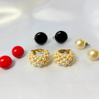 Button Earrings and Pearls Lot of Four