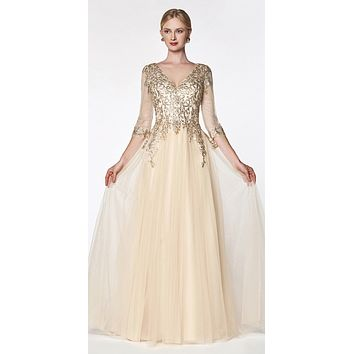 Flowy A-Line Tulle Gown Champagne 3/4 Length Sleeve And Lace Bodice