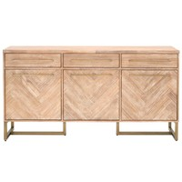 Desirable Wooden Mosaic Sideboard with Metal Frame, Stone Wash Brown