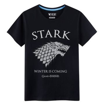 2017 Sprimh&Summer Games of Throne House Stark T-shirts for men The Dire Wolf 100% Cotton mens shirts