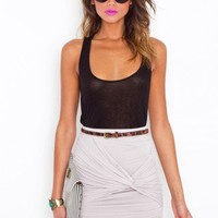 Ruched Knot Skirt - Dove Gray - NASTY GAL