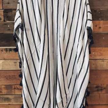 Stripe Boho Kimono Robe Cover-Up - Navy