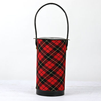 Vintage Plaid Mid Century Yarn Holder / Vintage Yarn Caddy