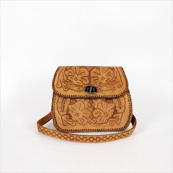 tooled leather handbag / tan floral etched purse