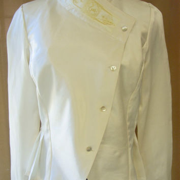 Buttoned cream satin steampunk blouse, Victorian style blouse, Asymmetrical closure with pleats