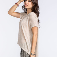Blu Pepper Womens Slub Hi Low Tee Taupe  In Sizes