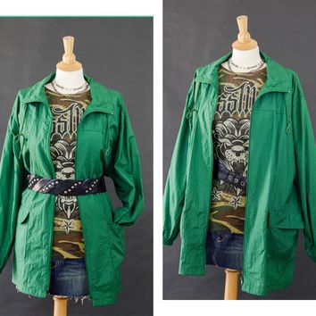Vintage Jacket,  80s Windbreaker, Green Oversized Windbreaker, Long Windbreaker Jacket, Lightweight Jacket, 80s Plus Size Windbreaker 1x