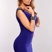 Royal Blue Black Faux Leather Spiky Studded Dress
