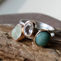 Amazonite, White Topaz and New Jade sterling silver and Brass stacker rings. Size M