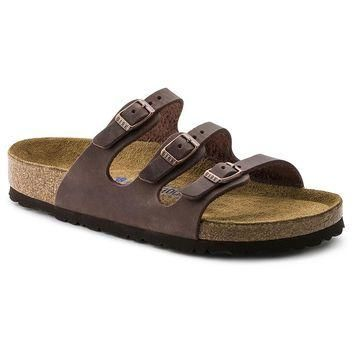 Women's Florida Oiled Leather Sandal in Habana with Soft Footbed by Birkenstock