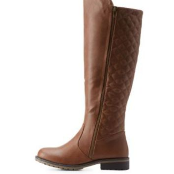 Cognac Quilted Lug Sole Riding Boots by Charlotte Russe