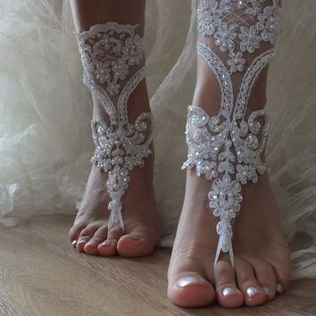 White lace barefoot sandals,silver beads embroidered Beach wedding barefoot sandals, Flexible wrist lace sandals, White barefoot sandals