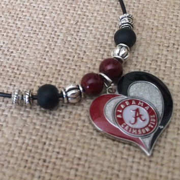 BAMA Necklace, University of Alabama Necklace, Leather Necklace, Alabama Necklace, Roll Tide Necklace