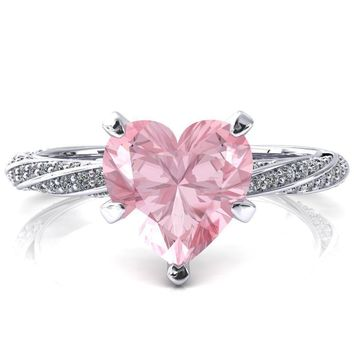 Elysia Heart Pink Sapphire 5 Prong 3/4 Eternity Diamond Accent Ring