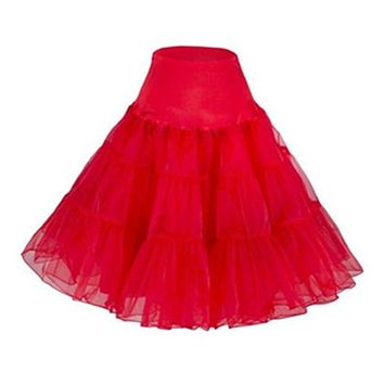 2017 Red Skirt Summer Women Princess Elastic Stretchy Tulle Skirt Sexy Petticoat Pettiskirt Tutu Skirt Slip 50s Retro Rockabilly