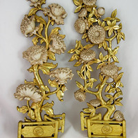 Vintage 1972 Syroco Set of 2 Flower Wall Hanging - Gold & White Flowers w/Fence