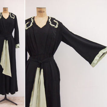 1930s Dress - Vintage 30s Kimono Sleeve Gown - Evening Reverie Dress