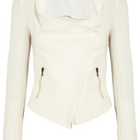 Roland Mouret - Mensa stretch crepe-paneled basketweave cotton jacket