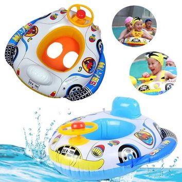 Hot Sale Cute Baby Pool Toys Inflatable Swimming Ring Seat Floating Car Shape Boat Aid Trainer with Wheel Horn Suit Pool Float