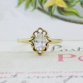 Antique Midi Ring | Dainty 10k Yellow Gold Stacking Ring | Vintage PSCO Knuckle Ring | Tiny Gemstone Ring | Sweet 16 Promise Ring | Size 3