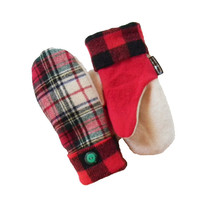 Plaid Wool Mittens Recycled Mittens Women's Red White Green Black Made in USA Lumberjack by Sweaty Mitts Check Reclaimed Fleece Lined