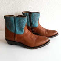 Ash Western-style ankle boots, tan and turquoise leather, cowboy boots, size 38