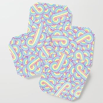 Rainbow and white swirls doodles Coaster by savousepate